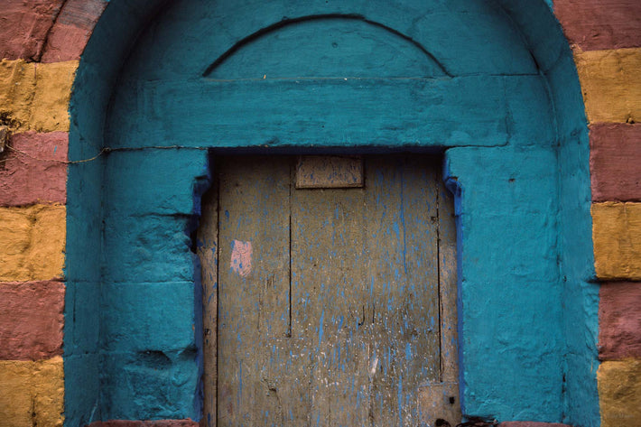 Painted Wood, Blue Arched Door, Egypt