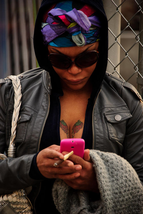 Woman, Cleavage, Phone, NYC