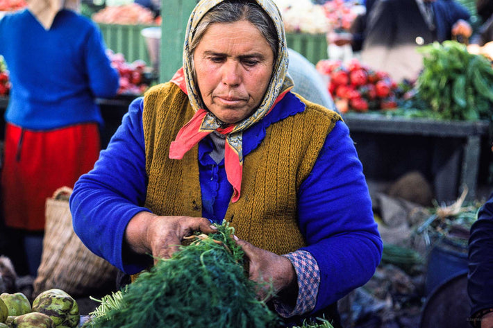 Woman, Market, Greens