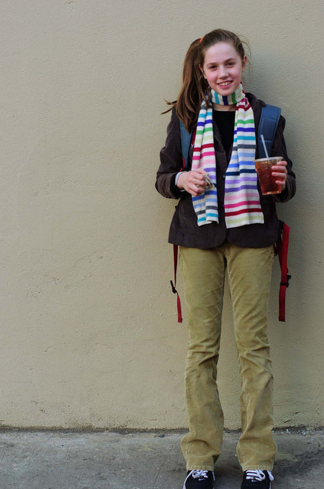 With Scarf, Against Wall