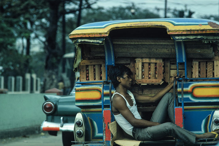 Young Man Asleep on Truck, Philippines