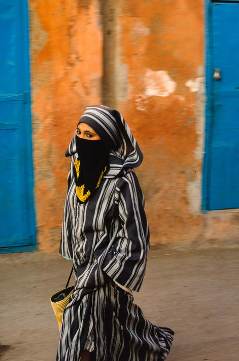 Woman with Striped Djellaba, Two Blue Doors, Marrakech