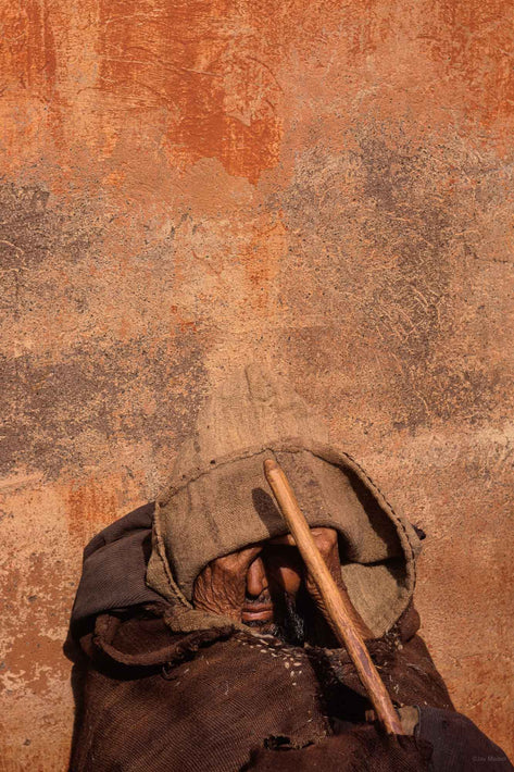 Close Up of Man's Face Against Wall, Marrakech