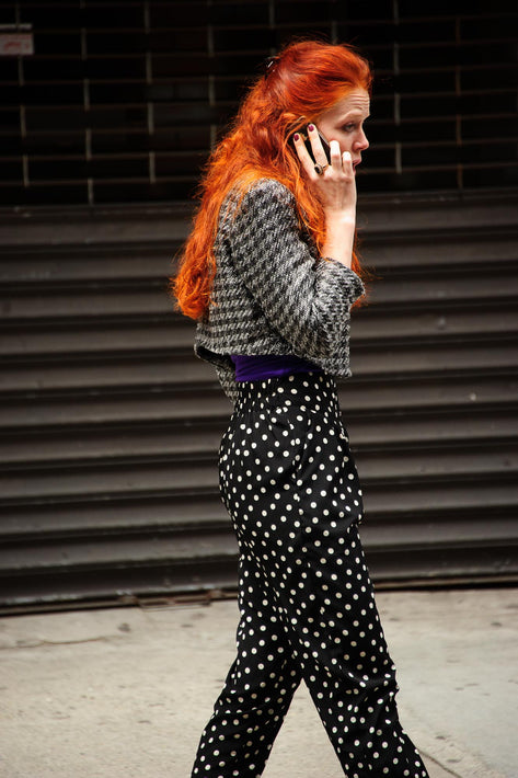 Redhead Wearing Black and White, NYC