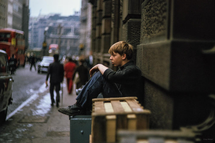 Boy Sitting on Crate, Profile, London