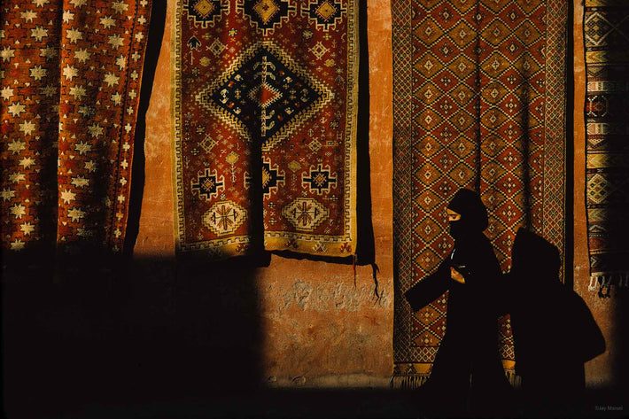 Waling In Front of Wall with Carpets, Marrakech