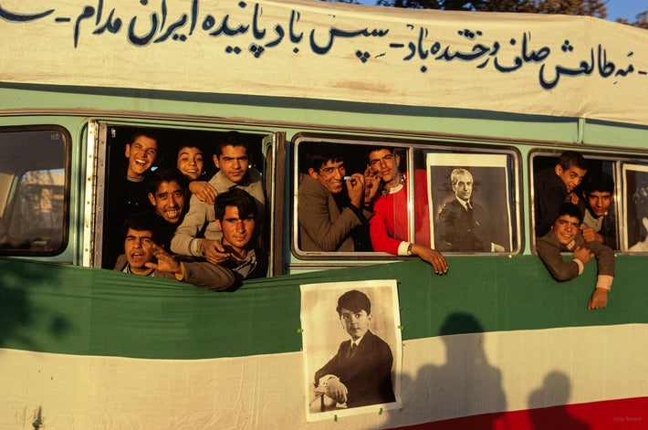 Side of Bus with Kids Laughing and Posing, Iran