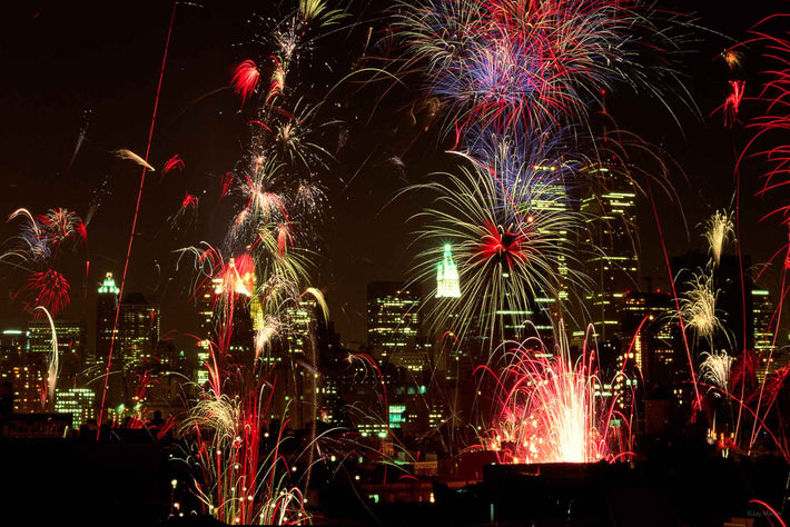 Fireworks and City Skyline