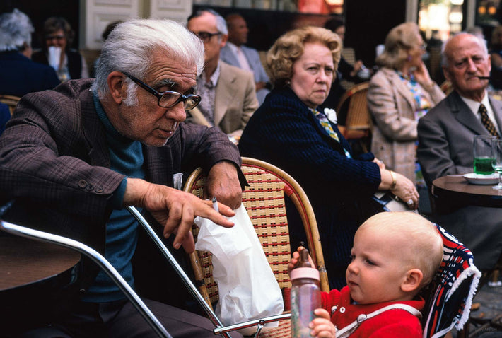 Old Man with Baby at Cafe, Paris
