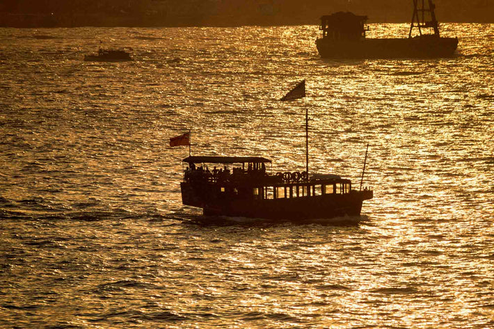 Silhouette of Boats in Harbor, Hong Kong