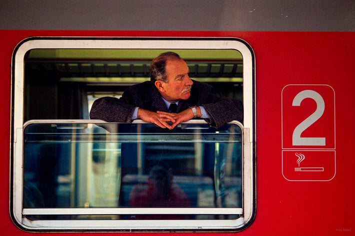 Man with Mustache in Train Window, Rome