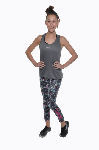 Reversible Work-out Leggings Charcoal/Aztec