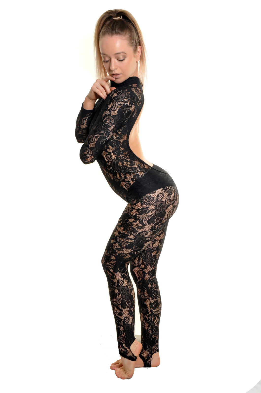 High neck open back long sleeve lace catsuit