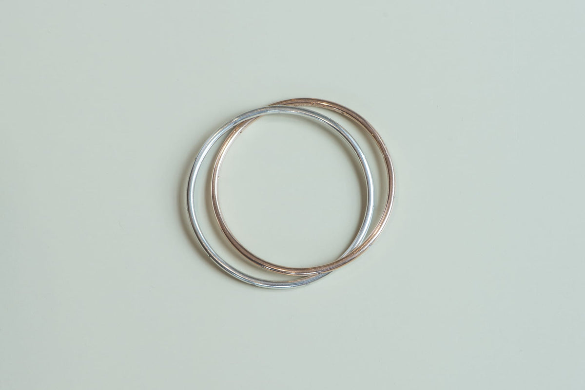 White Gold and Rose Gold Diamond Linked Bangle