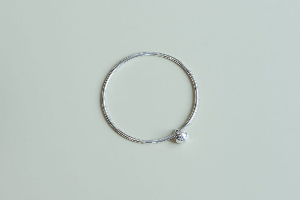 Sterling Silver Small Rwandan Bead Bangle