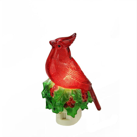 525 beaded red cardinal on holly decorative christmas night light