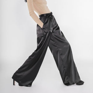 Satin Palazzo Pants by Meche The Label - 8LACK OFFICIAL