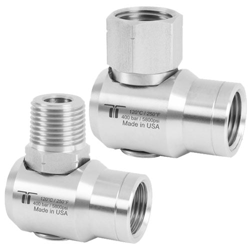 "Mosmatic Swivel WDEI LP (725 psi) 90º  Stainless Steel - 1/2"" NPTF to 1/2"" NPTF H=24 43.493"