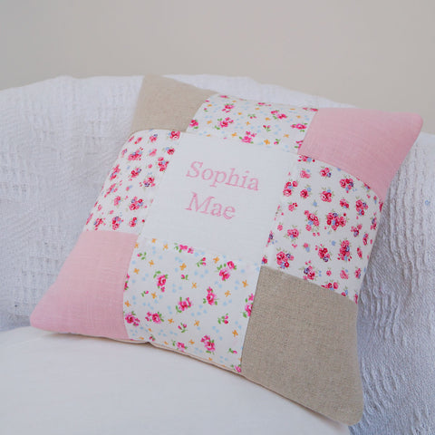 Pink Patchwork Name Cushion