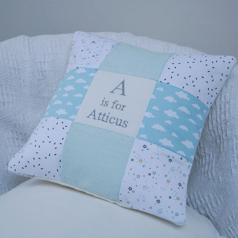 Mint Skies Alphabet Cushion