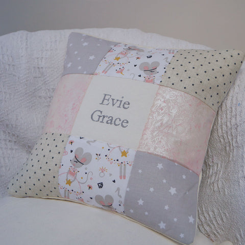 Shimmer Ballerina Mouse Name Cushion