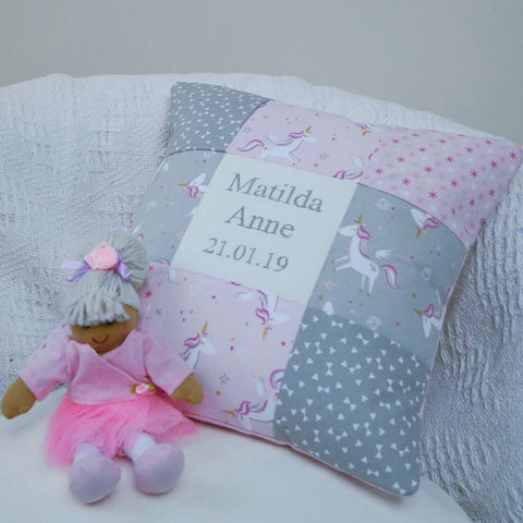 Unicorn Name and Date Cushion