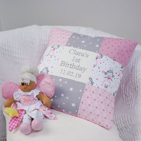 Pink Fairy Birthday Cushion