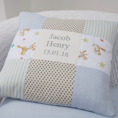 Bunny Name and Date Cushion Blue