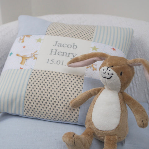 Bunny Name and Date Cushion Pink
