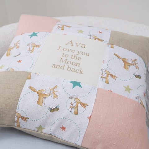 'Love You To The Moon And Back' Patchwork Cushion