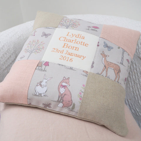 Woodland Name and Date Cushion Peach