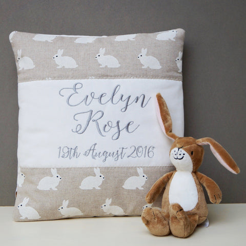 White Rabbit Name and Date Cushion