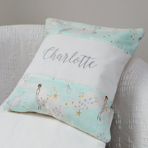 Mermaid Name Cushion Mint