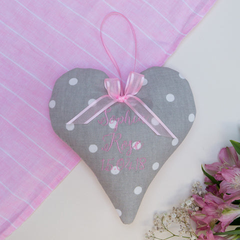 Dotty Name & Date Heart