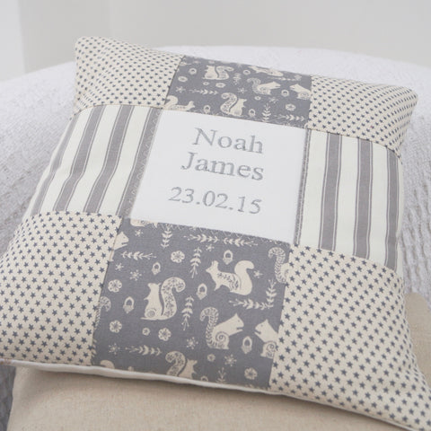 Little Grey Squirrel Name and Date Cushion