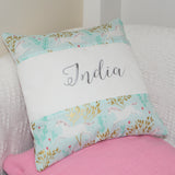 Unicorn Name Cushion Mint