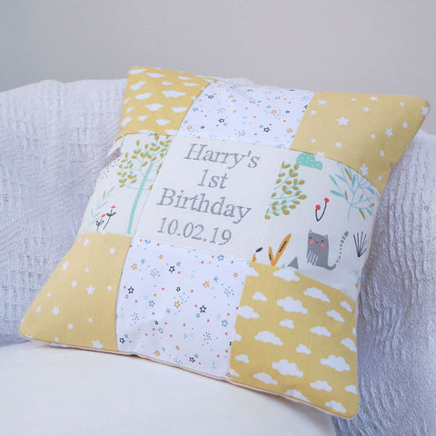 Clouds Birthday Cushion Yellow