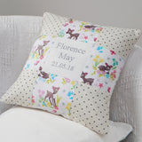 Baby Deer Name & Date Cushion
