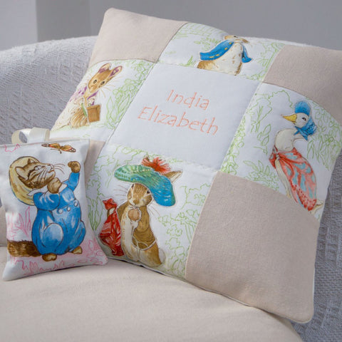 Beatrix Potter© Patchwork Name Cushion Natural