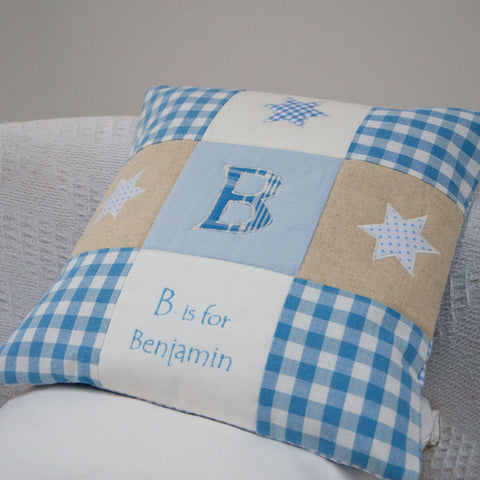 Gingham Alphabet Cushion Blue - Benjamin