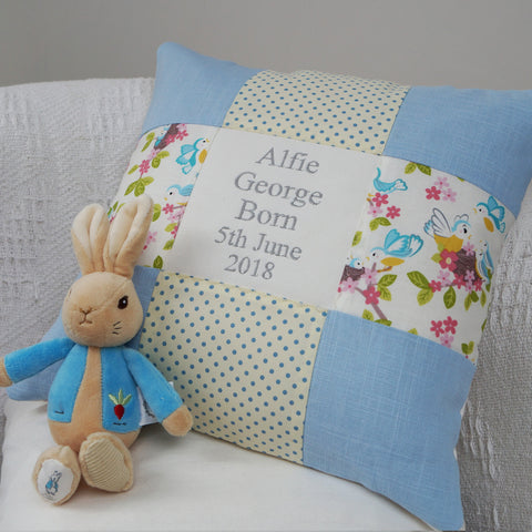 Blue Bird Occasion Cushion Blue