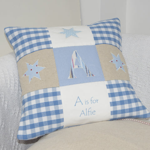 Alphabet Cushion Blue