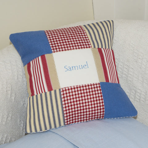Blue Patchwork Name Cushion