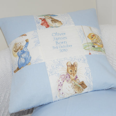 Beatrix Potter© Patchwork Name and Date Cushion Blue