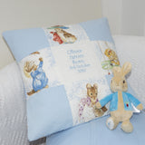Beatrix Potter© Patchwork Name and Date Cushion Pink