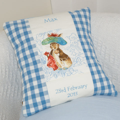 Beatrix Potter© Name Cushion Blue