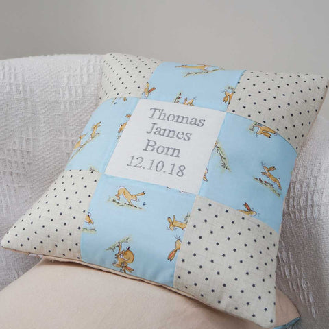 Bunny Birth and Christening Cushion Blue