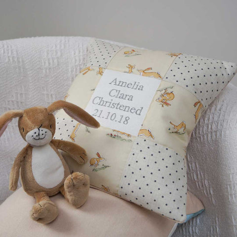 Bunny Birth and Christening Cushion Lemon