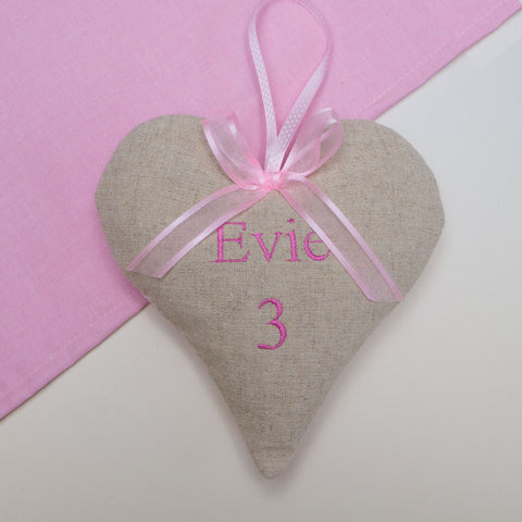 Children's Name and Age Heart Pink