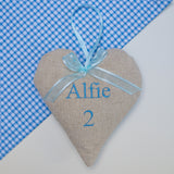 Children's Name and Age Heart Blue